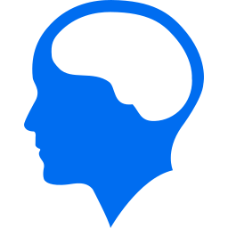 Graphic of a human head, with brain outlined